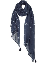 Fat Face Flying Bird Print Scarf Navy White