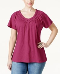 Jm Collection Plus Size Crochet V Neck Tee Only At Macy's Steel Rose