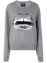 Markus Lupfer Sequinned Lips Knitted Jumper Grey
