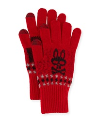 Psycho Bunny Stanley Houndstooth Tech Gloves Red