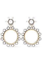 Elizabeth Cole Gold Tone Faux Pearl And Crystal Hoop Earrings Gold