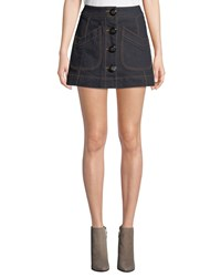 Coach Button Front Denim Mini Skirt With Topstitching Blue
