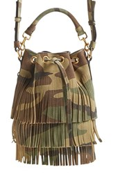 Saint Laurent 'Small Emmanuelle' Camo Print Suede Bucket Bag Green Camoflage