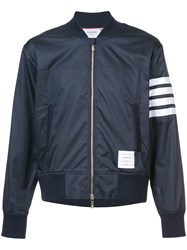 Thom Browne Zipped Bomber Jacket Cotton Polyester Blue
