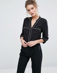 Oasis Pyjama Style Shirt With Piping Detail Black