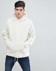 Mango Man Faux Shearling Hoodie In Off White Off White