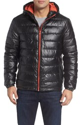 Cole Haan Men's Quilted Faux Leather Hooded Puffer Jacket Black Orange