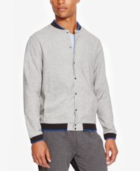 Kenneth Cole Reaction Men's Ribbed Trim Shirt Jacket Heather Grey