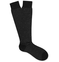 Pantherella Blake Escorial Wool Blend Jacquard Over The Calf Socks Black
