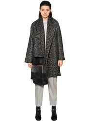 Marina Rinaldi Wool And Cotton Coat W Fur Detail