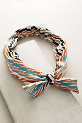 Anthropologie Deco Bow Headband Navy