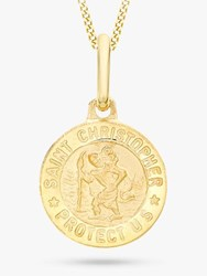 Ibb 9Ct Gold St Christopher Round Pendant Necklace Gold