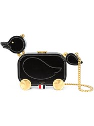Thom Browne Duckling Bag With Chain Shoulder Strap In Calf Leather Leather Black