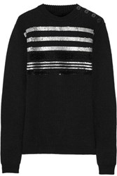 Sonia Rykiel Sequined Ribbed Wool Blend Sweater Black