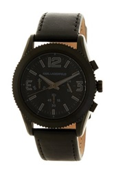 Karl Lagerfeld Unisex Kurator Leather Strap Watch Black