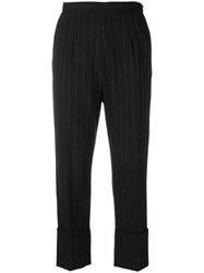 I'm Isola Marras Pinstripe Cropped Trousers Black
