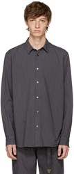 Robert Geller Grey Striped Dress Shirt