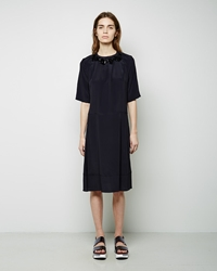 Marni Short Sleeve Crepe Dress Blue Black