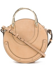 Chloe Rounded Pixie Bag With Metal Handle Nude And Neutrals