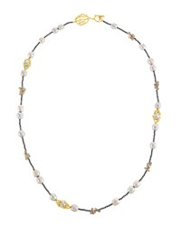 Indulgems Silver Pearl Pussywillow Station Necklace Women's