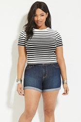 Forever 21 Plus Size Striped Crop Top Cream Black