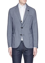 Lardini Reversible Colourblock Houndstooth Soft Blazer Blue Multi Colour