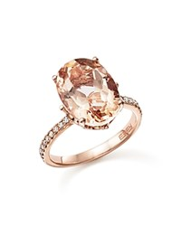 Bloomingdale's Morganite Oval And Diamond Statement Ring In 14K Rose Gold Pink Rose