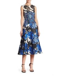 Rickie Freeman For Teri Jon Embroidered Lace Floral Dress Royal Blue
