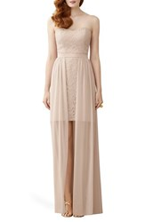 Women's Dessy Collection Strapless Lace Sheath With Chiffon Overlay