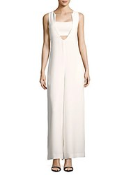 Opening Ceremony Solid Wide Leg V Neck Jumpsuit White