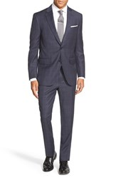 Men's Big And Tall Peter Millar Classic Fit Plaid Wool Suit Navy