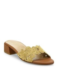 Stuart Weitzman Juneflorette Chain Trim Leather Block Heel Slides Gold