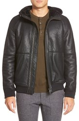 Men's Vince Hooded Leather Bomber With Genuine Shearling Lining