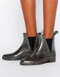 Asos Game Chelsea Wellies Pewter Glitter Silver