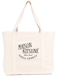 Maison Kitsune Logo Print Tote Men Cotton One Size Nude Neutrals
