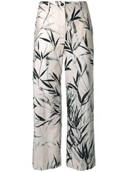 Blumarine Leaves Print Cropped Trousers Nude Neutrals