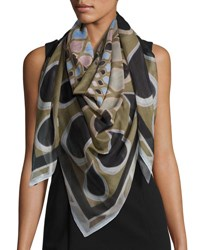 Givenchy Square Voile Kaleidoscope Scarf Green
