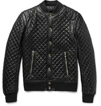 Balmain Quilted Leather Bomber Jacket Black