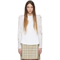 See By Chloe White Embroidered Long Sleeve T Shirt