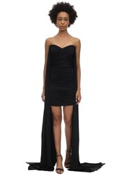 Alex Perry Draped Satin Envers Mini Dress Black