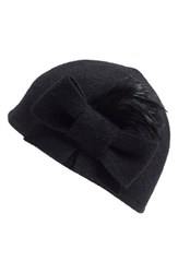 Women's Helene Berman Bow And Feather Wool Blend Cap