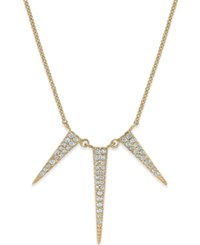 Studio Silver Cubic Zirconia Three Spike Pendant Necklace In Sterling Silver Yellow Gold