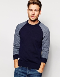 Pepe Jeans Pepe Crew Knit Jumper Buntline Slim Fit Raglan Sweat Sleeves Navy