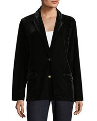 Joan Vass Stretch Velvet Two Button Blazer Black