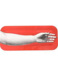 Fornasetti Arm Print Tray Unisex Wood One Size Red