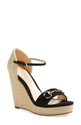 Women's Gucci 'Carolina' Ankle Strap Wedge Black Fabric