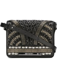 Alberta Ferretti Embellished Cross Body Bag Black