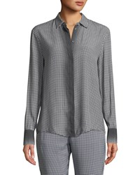 Piazza Sempione Ombre Checked Long Sleeve Button Front Shirt Black