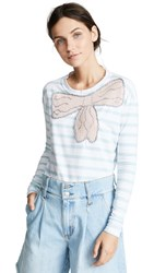 Michaela Buerger Long Sleeve Tee With Bow Light Blue White