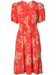 Rebecca Taylor Printed Silk Dress Red
